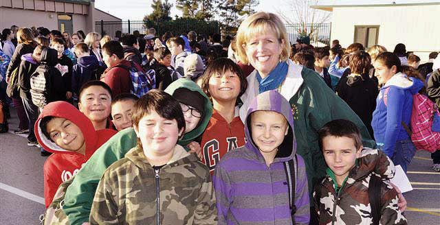Superintendent with Students